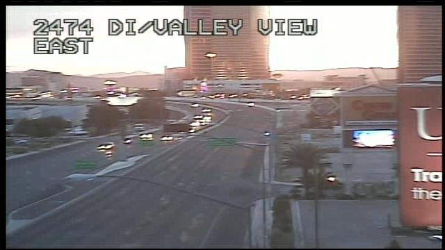 Eastbound Desert Inn Road was empty after a chemical spill early Friday. (FAST CAM)