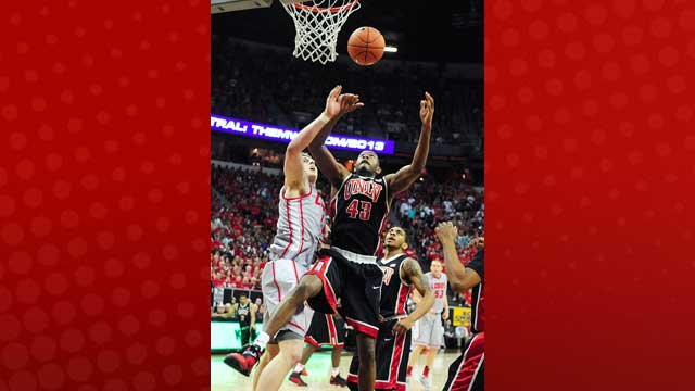 Forward Mike Moser and the UNLV Runnin' Rebels drew a No. 5 seed in the NCAA tourney despite losing against New Mexico in the Mountain West tournament final. (Steve Spatafore/ Las Vegas News Bureau)