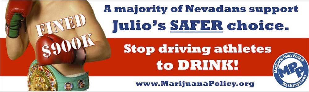 The billboard claims a majority of Nevadans support the legalization of marijuana. (Marijuana Policy Project)