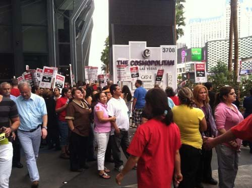 Union workers protest in front of the Cosmopolitan on Wednesday. (Matt DeLucia/FOX5)