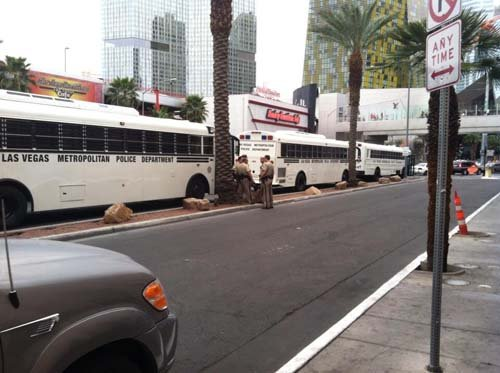 Metro police have buses waiting in case arrests are made. (Matt DeLucia/FOX5)