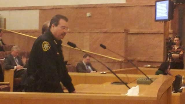 Constable John Bonaventura speaks before the Clark County Board of Commissioners before a vote on the department's fate on Tuesday. (Christian Cazares/FOX5))