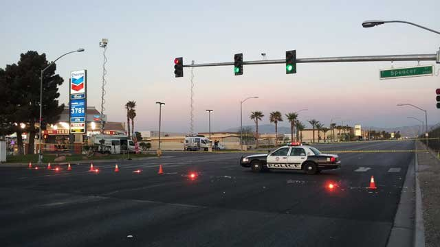 The motorcycle crash on March 25, 2013 blocked Sunset Road for much of the morning.  (Armando Navarro/FOX5)