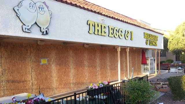 The Egg & I on Sahara Avenue was boarded up and closed for business Tuesday after a hit-and-run driver plowed through the business. (Armando Navarro/FOX5)