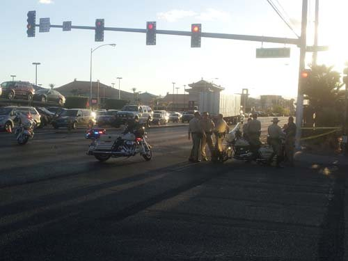 The scene of the deadly auto-pedestrian accident on Spring Mountain Road. (Robbie Hunt/FOX5)