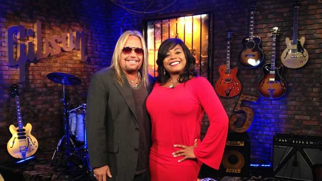 Mötley Crüe lead singer Vince Neil, with FOX5's Monica Jackson, announced the 12-show residency inside the Gibson Showroom at FOX5 Studios. (Matt Guillermo/FOX5)