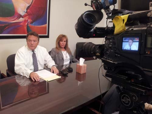 Evie Oquendo and attorney E. Brent Bryson. (Robbie Hunt/FOX5)
