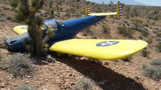 The pilot of the aircraft told authorities there was no longer a propeller attached to the plane when he crashed. (Mohave County Sheriff's Office)