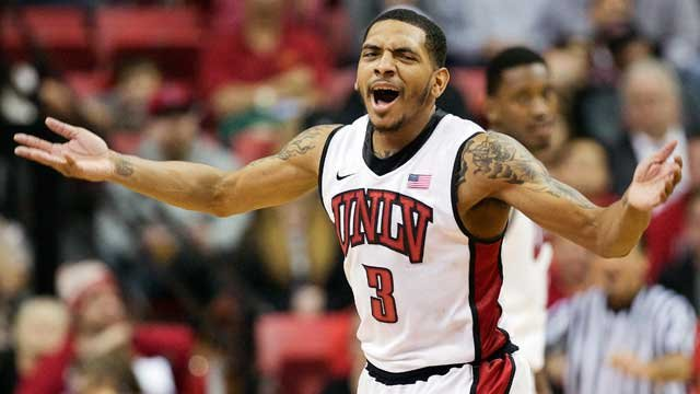 UNLV's Anthony Marshall reacts as Wyoming calls a timeout in the second half of an NCAA college basketball game, Thursday, Jan. 24, 2013, in Las Vegas. (AP Photo/Julie Jacobson)
