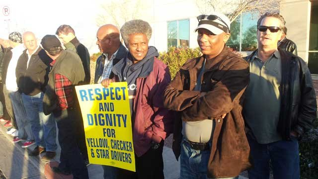 Cab drivers for Yellow Checker Star Transportation began picketing just after midnight on March 3, 2013. (Armando Navarro/FOX5)