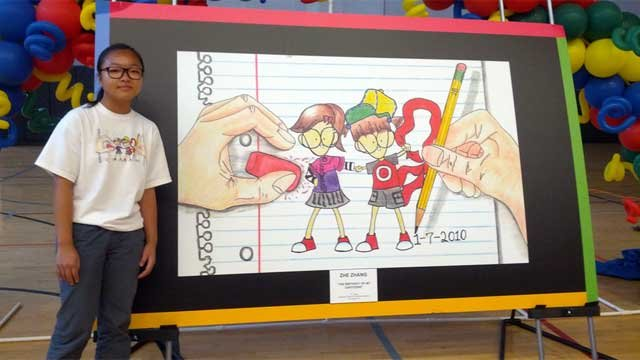 Zhe Zhang stands next to her entry in the Doodle 4 Google competition. (Source: Google)