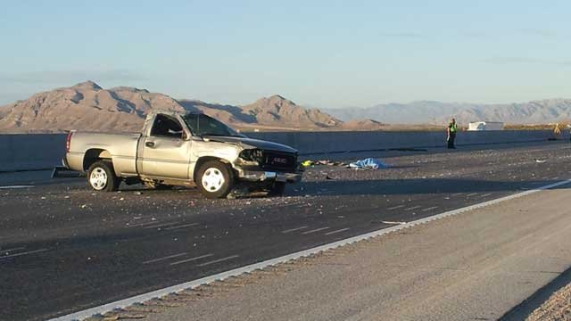 Nevada Highway Patrol said a pick-up truck was traveling recklessly when it rolled over early Thursday morning. (May 9, 2013/Armando Navarro, FOX5)