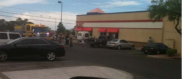 A van crashed into a KFC restaurant on E. Windmill Friday afternoon. (Courtesy: Kelly Bradley)