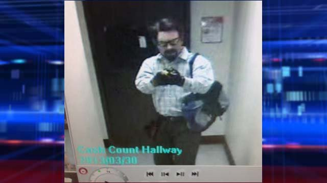 Metro police said the robbery suspect was wearing yellow sunglasses with black frames. (LVMPD)