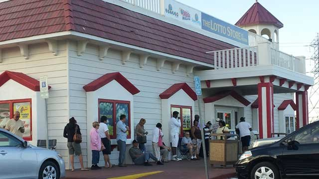 Lotto players wait outside the Primm Lotto Store on Wednesday morning, hours before the $360 million drawing. (Shannon Moore/FOX5)