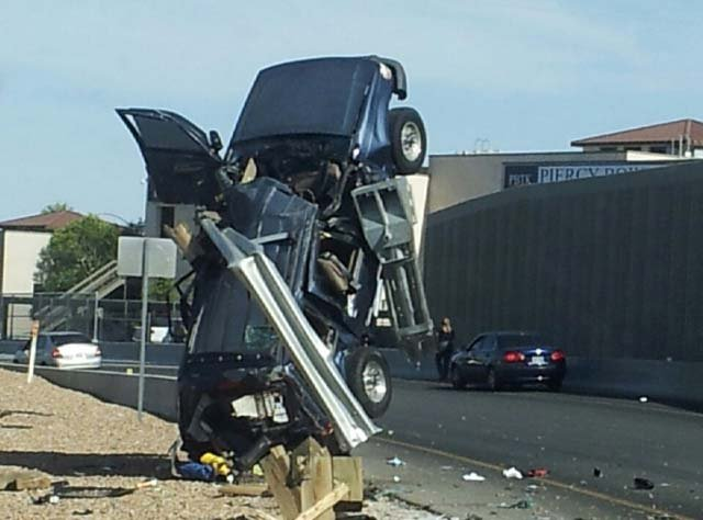 Ford Explorer after hitting a guardrail on 95 at the Jones ramp. (Courtesy: FOX5 viewer)