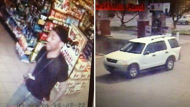 Police said a person of interest, pictured left, was being sought in the theft. Metro is looking for a sport-utility vehicle described as a white Ford Explorer. (LVMPD)