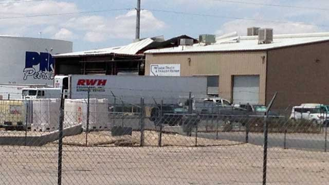 Sections of wall and roof are missing from a building after a blast at Nevada Truck and Trailer Repair. (May 17, 2013/FOX5)