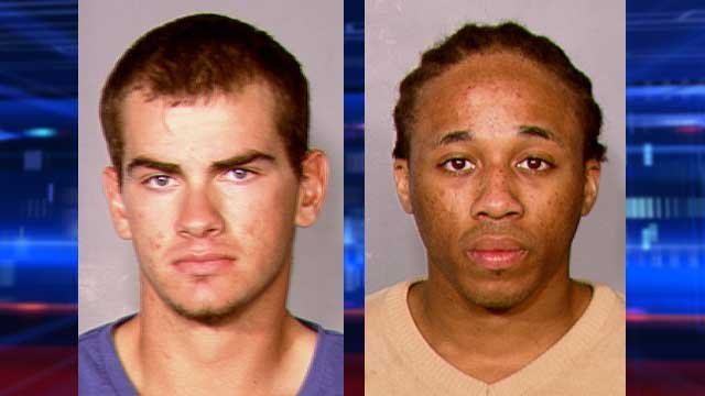 Jacob Dismont, left, and Michael Solid, right, are accused of taking an iPad from a teen and running him over with a vehicle. (LVMPD)