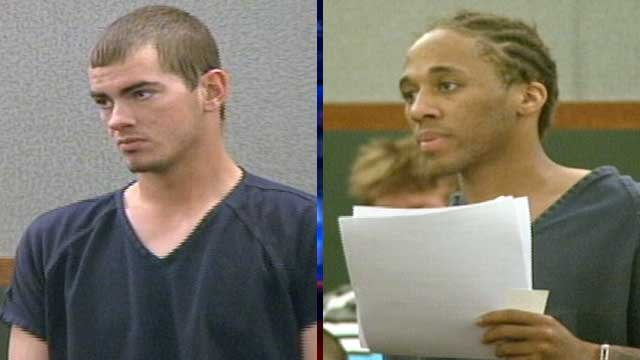 Jacob Dismont, left, and Michael Solid, right, make their first appearance in a Las Vegas courtroom. (May 21, 2013/FOX5)
