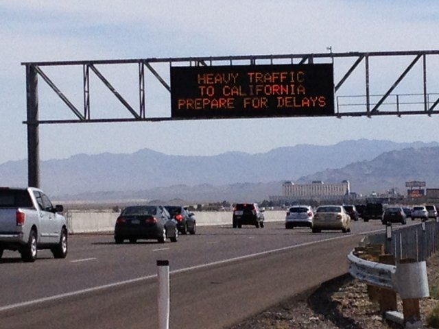 Drivers are warned of delays for the trip back to California. (Elizabeth Watts/FOX5)