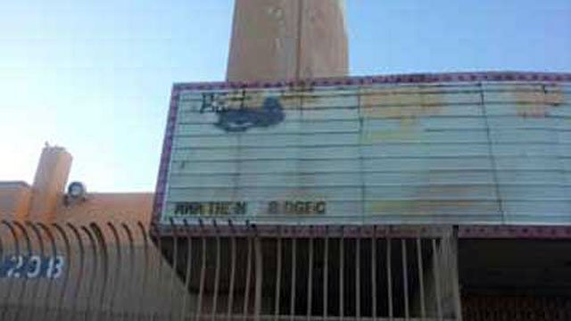 The tattered marquee of the Huntridge Theater is shown in this picture. (File/FOX5)