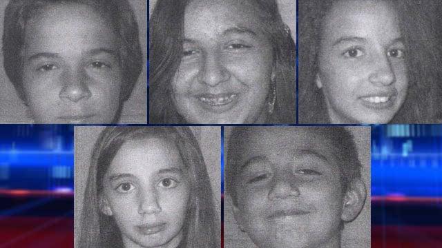 From upper left to lower right: Luchiano Nicholas, Savannah Nicholas, Violet Bimbo-Nicholas, Sarah Nicholas and Demetri Nicholas. (Source: LVMPD)