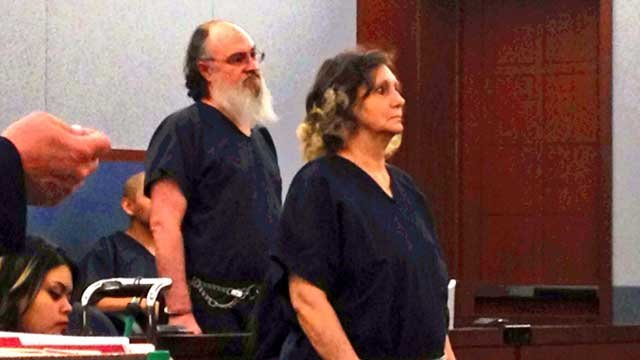 Christopher, left, and Georgene Ross, right, appeared in Las Vegas Justice Court on June 12. (Shannon Moore/FOX5)