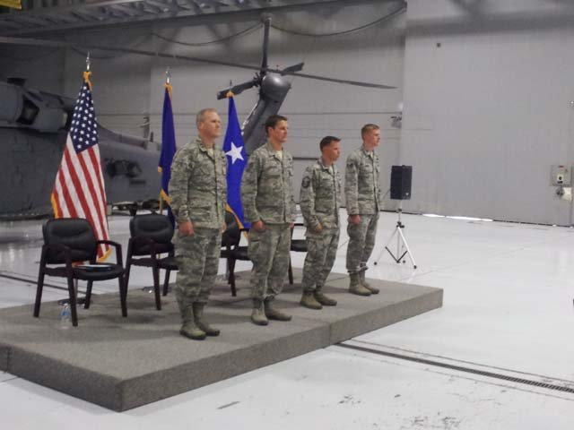 Airmen receive awards during a ceremony on Wednesday at Nellis Air Force Base. (Joe Lybarger/FOX5)