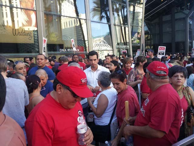 Culinary Union members picket in front of The Cosmopolitan on Friday, June 14. (Azenith Smith/FOX5)