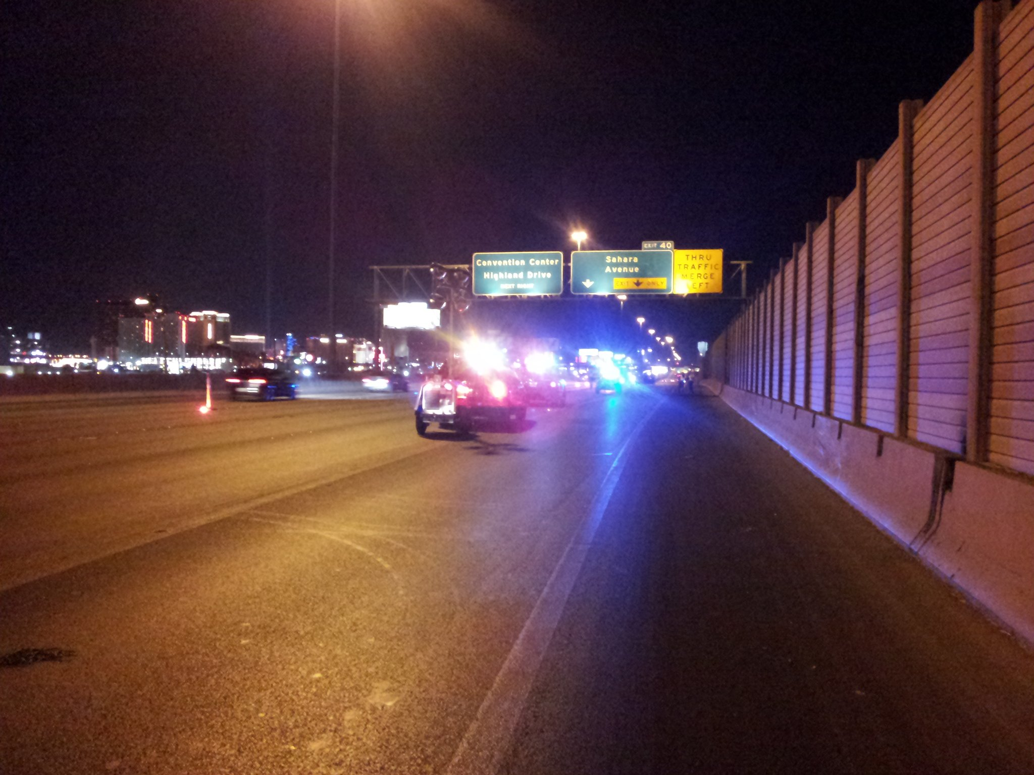 A man is killed in an accident on I-15 in the early morning of June 15, 2013. (Arron Healy/FOX5)