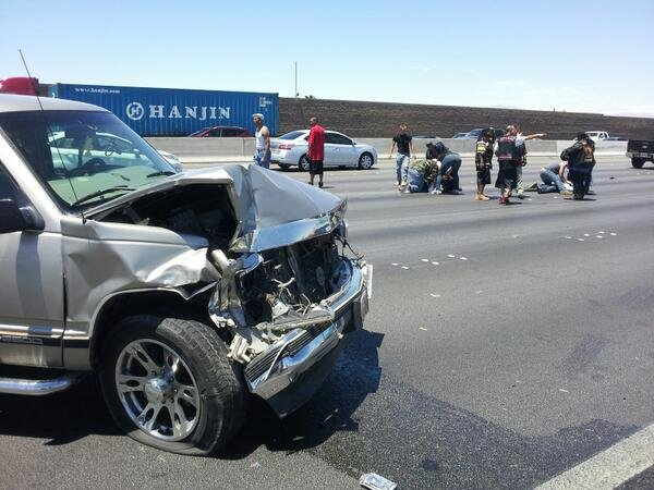 Six are injured in an eight-car wreck along I-15 Saturday June 15, 2013. (Eric Youngman/FOX5)