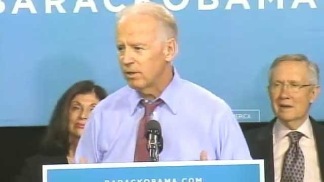 Vice President Joe Biden campaigns at the Culinary Academy of Las Vegas. (Oct. 18, 2012/FOX5)