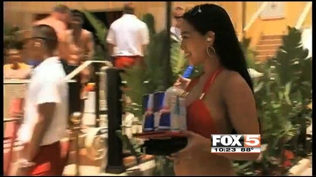 Las Vegas Strip pools and dayclubs usually hold auditions to hire model waitresses.