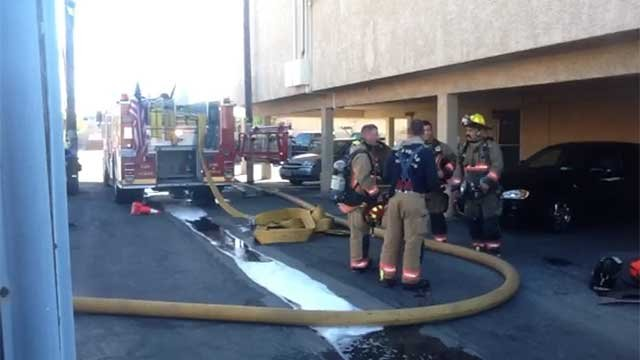 Crews were able to knock down a fire inside a three-story apartment building in downtown Las Vegas. (Las Vegas Fire and Rescue)
