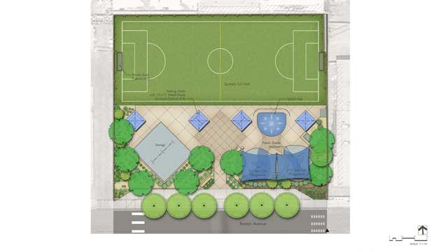 A planned layout of new Stupak Park shows a soccer field, playground equipment and shaded areas. (Source: City of Las Vegas)