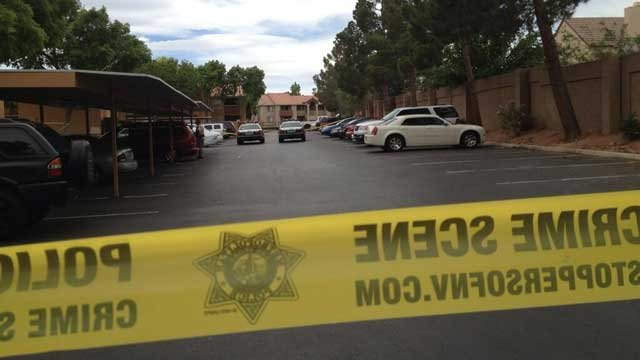 Police taped off a section of an apartment complex where a shooting happened in northwest Las Vegas. (Christian Cazares/FOX5)