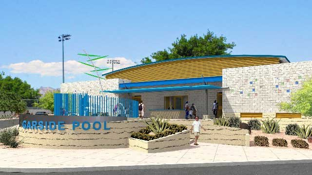 An artist's rendering shows plans for the entrance of the new Garside Pool. (City of Las Vegas)