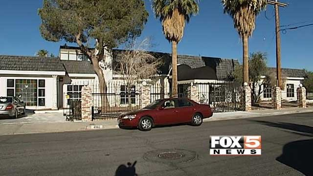 Cars are parked at the former Las Vegas home of Liberace on June 25, 2013. (Azenith Smith/FOX5)
