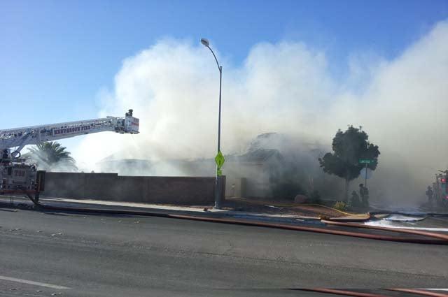 A house burns near Arroyo Grande and Stephanie in Henderson. (Joe Lybarger/FOX5)