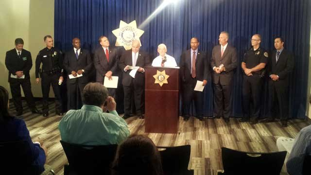 Sheriff Douglas Gilespie delivers a statement during a press conference in Las Vegas on Thursday. (Joe Lybarger/FOX5)