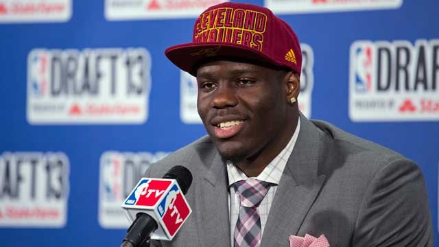 UNLV's Anthony Bennett, who was selected first by the Cleveland Cavaliers in the NBA basketball draft, speaks during a news conference Thursday, June 27, 2013, in New York. (AP Photo/Craig Ruttle)