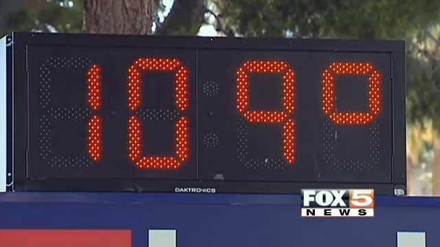 A thermometer on a bank sign shows the temperature on June 27, 2013 in Las Vegas. (Jon Castagnino/FOX5)