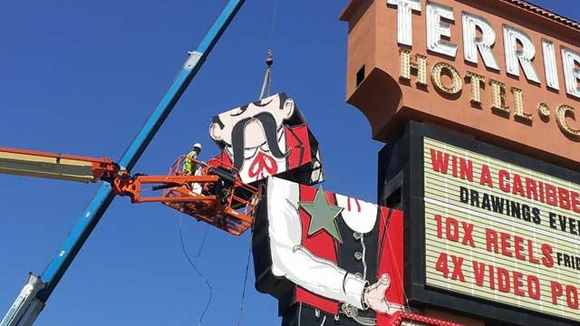 The iconic neon Terrible's Casino cowboy was dismantled in May to make way for new Silver Sevens signs. (Peter Dawson/FOX5)