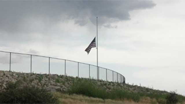 Flag at half-staff outside Embry-Riddle Aeronautical University in Prescott, AZ. (Source: Sean Gates, KPHO)