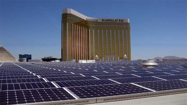 An artist's rendering of the solar array planned for the Mandalay Bay Resort Convention Center. (Source: PRNewsFoto/MGM Resorts International)