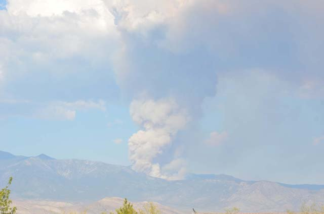 A fire in the Carpenter Canyon area of the Spring Mountains as seen from Pahrump. (Source: Tim Hutter)