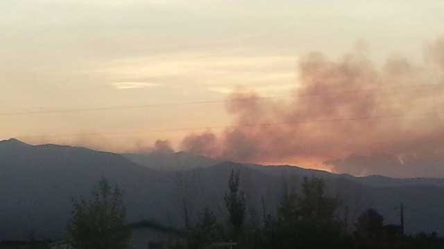 A FOX5 viewer in Pahrump submitted this photo of smoke from the fire early Wednesday. (Source: Amanda Lima)