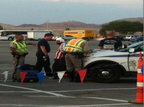 Metro police on the scene of a large-scale disturbance at Sam Boyd Stadium on Wednesday. (Yvette Belisle/FOX5)