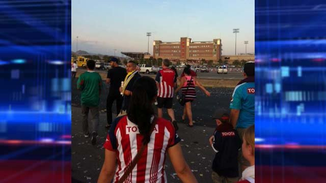 An unruly crowed caused a large disturbance before the match. (Yvette Belisle/FOX5)